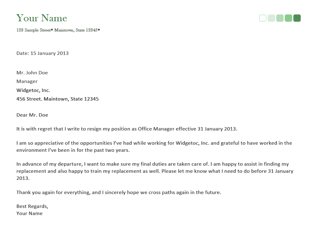 Resignation letter on a short notice with guidelines and samples