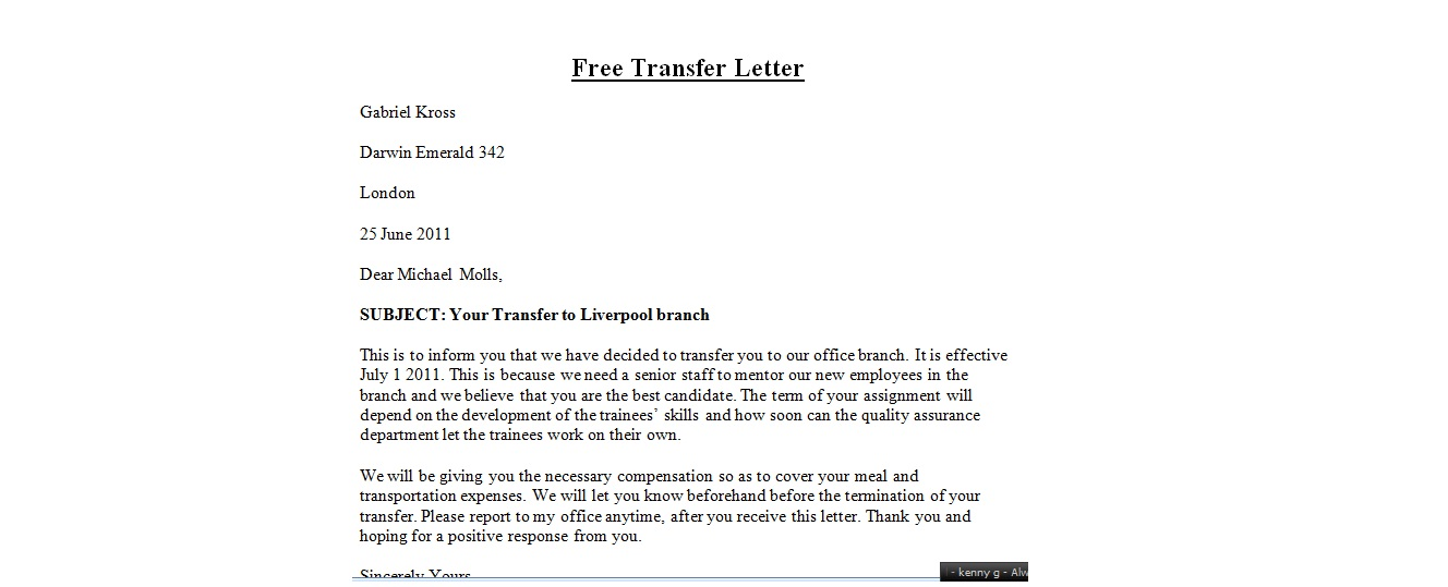 Company transfer letter template 6 free word pdf how to transfer sample transfer letter spiritdancerdesigns Images